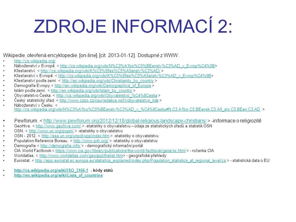 ZDROJE INFORMACÍ 2: Wikipedie, otevřená encyklopedie. [on-line]. [cit. 2013-01-12]. Dostupné z WWW: